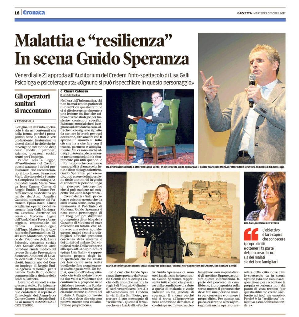 Articolo Gazzetta Reggio Emilio io Guido la Speranza